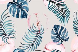 Seamless watercolor pattern with apple and monstera vector