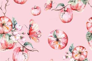 Seamless pattern with watercolor apples and leaves vector