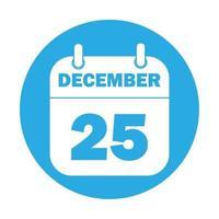 Ilustración simple del icono del calendario del 25 de diciembre para las vacaciones de Navidad vector