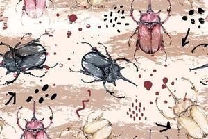 Seamless pattern of beetles vector