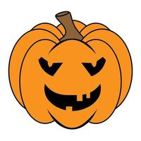 Simple Halloween scary pumpkin with funny face in flat style vector