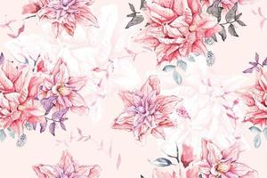 Seamless pattern of watercolor Blooming flowers vector