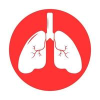 Lung human icon, respiratory system healthy lungs anatomy flat medical organ icon vector