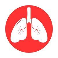 pulmón humano icono, sistema respiratorio pulmones sanos anatomía icono de órgano médico plano vector