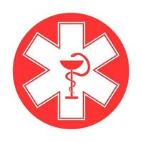 Medical sign star of life icon. Hospital ambulance star glyph style pictogram vector