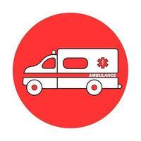 ambulancia coche o automóvil de emergencia. auto de vehículo médico de dibujos animados plana vector