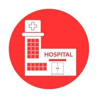 Flat Design Healthcare Hospital Icon. Medical concept with hospital building vector