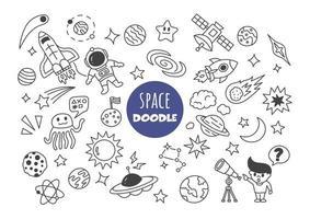 space kawaii doodle vector