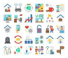 work from home flat vector icons