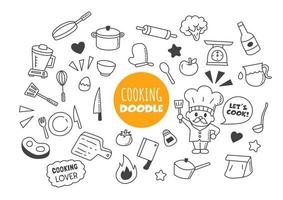 cooking kawaii doodle vector