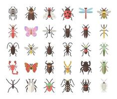 insect flat vector icons