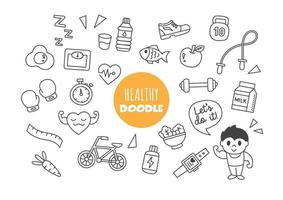 healthy kawaii doodle vector