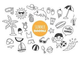 verano kawaii doodle vector