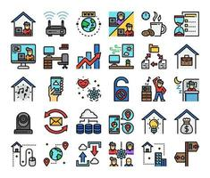 work from home color outline vector icons