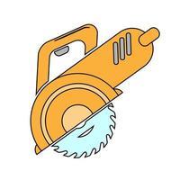 sierra circular simple icono de herramientas de trabajo vector