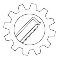 Hacksaw carpentry tool in gear flat icon for apps and websites vector