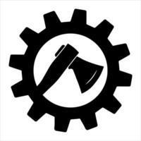 hacha en el diseño simple del ejemplo común del icono del engranaje. silueta de un hacha vector