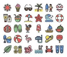 summer color outline vector icons