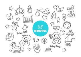 baby kawaii doodle vector