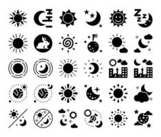 sun and moon glyph vector icons