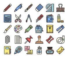 iconos de vector de contorno de color de papelería