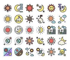 sun and moon color outline vector icons