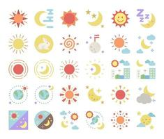 sun and moon flat vector icons