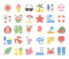 summer flat vector icons
