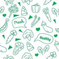 vegetables doodle seamless pattern vector