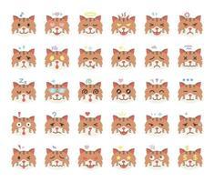 cat emoji flat vector icons