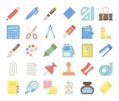 iconos de vector plano de papelería