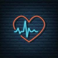 heart pulse rate neon sign vector
