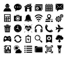 mobile user interface glyph vector icons