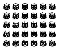cat emoji glyph vector icons