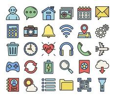 mobile user interface color outline vector icons