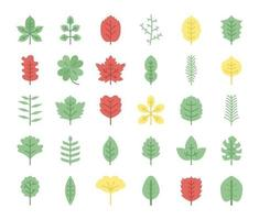 leaves flat vector icons
