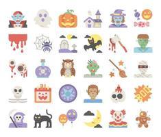 happy halloween flat vector icons