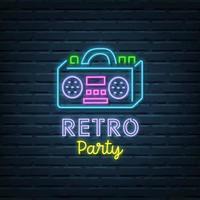 retro party neon sign vector
