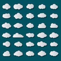 icono de vector de nube establece color blanco sobre fondo azul. colección de ilustraciones planas de cielo para web. ilustración vectorial