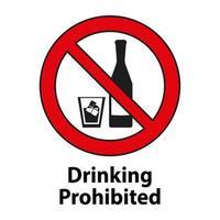 Prohibido beber, ningún signo de alcohol aislado sobre fondo blanco. vector