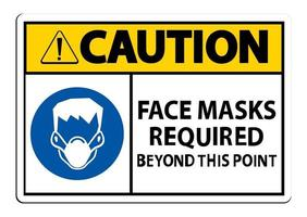 Caution Face Masks Required Beyond This Point Sign Isolate On White Background vector