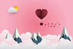 valentine's Day balloon heart-shaped floating in the sky and beautiful mountains cloud.paper art.vector illustration vector