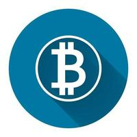 symbol coin bitcoin white icon with long shadow black,Simple design style.vector illustration vector