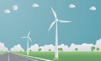 Factory ecology,Industry icon,Wind turbines with trees and sun Clean energy with road eco-friendly concept ideas.vector illustration vector