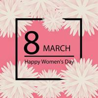 Abstract Pink Floral Greeting card - International Happy Women's Day - 8 March holiday background with paper cut Frame Flowers. vector