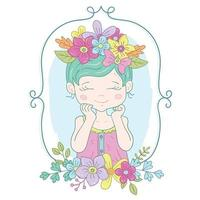 Colorful Cute Little Girl Illustration with flowers and border vector