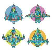 Colorful Decorative Spaceship Collection vector