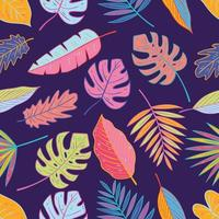 Colorful Tropical Leaves Seamless Pattern vector