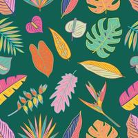 Colorful Tropical Plants Seamless Pattern vector