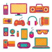 Colorful Electronic Gadget Collection vector